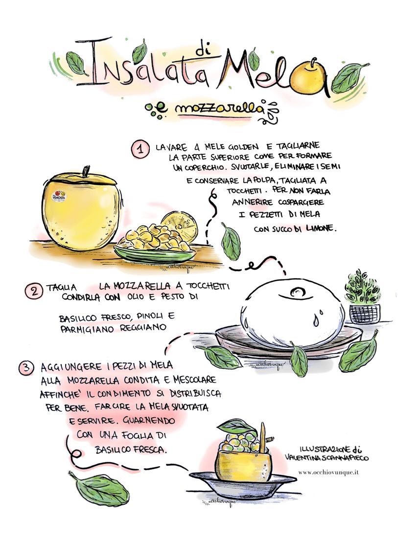 ricetta insalata di mele e mozzarella